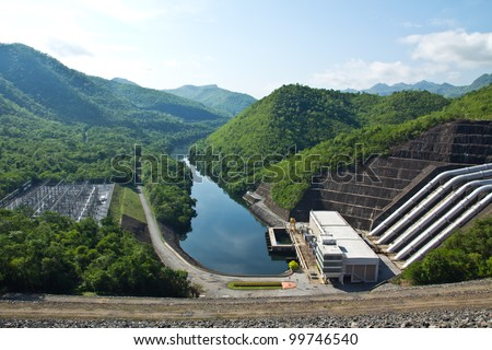 Hydroelectric power plant in Thailand - stock photo