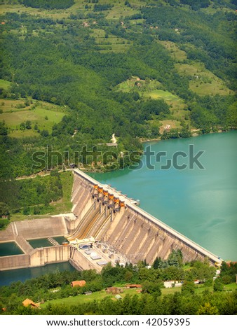 hydroelectric power station - stock photo