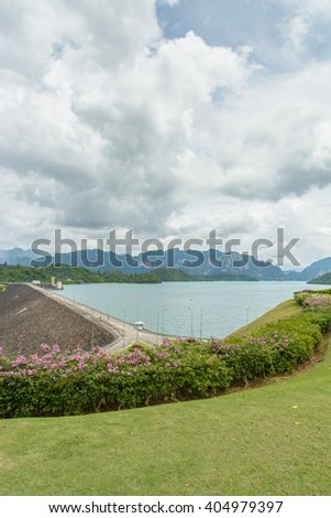 Hydroelectric power station on Cheow Lan Dam (Ratchaprapha Dam) in Thailand(Un-focus image)
