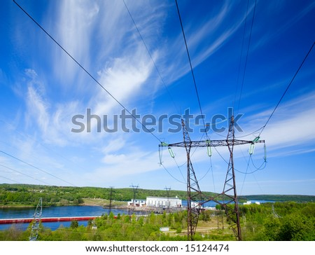 Hydroelectric power station on the river - stock photo