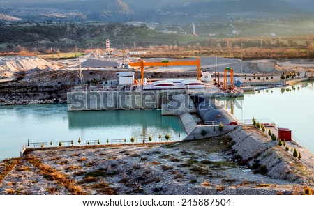 hydroelectric power station river - stock photo