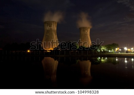 hydroelectric power station's vapour condensers at night