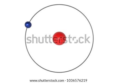 Hydrogen Atom Bohr Model Proton Electron Stock Illustration