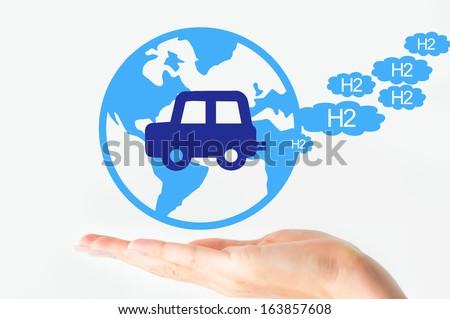 Hydrogen car concept - stock photo