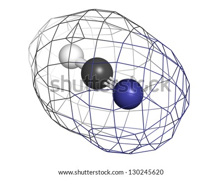Hydrogen cyanide (HCN, Prussic acid) poison molecule, chemical structure. HCN is an extremely toxic and volatile liquid. Atoms are represented as spheres with conventional color coding - stock photo