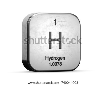 Hydrogen element from the periodic table. Metallic icon 3D rendered on white background