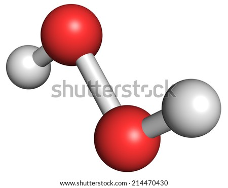 Hydrogen peroxide molecule. Reactive oxygen species (ROS). Used as bleaching agent, disinfectant, chemical reagent, etc. Atoms are represented as spheres with conventional color coding: etc - stock photo