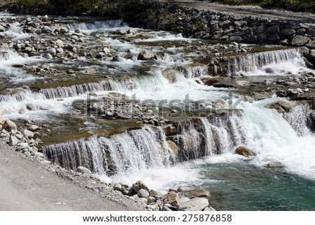 Hydrogeological stepped post flooding - stock photo