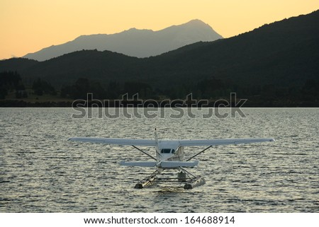 hydroplane on lake Te Anau - stock photo