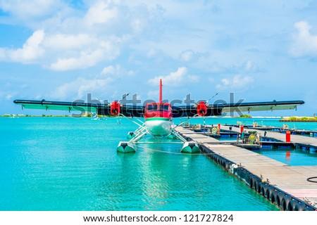 Hydroplane standing at Male airport, Maldives - stock photo