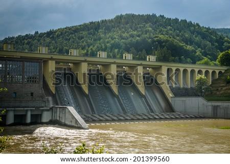 Hydropower-waterdam on Sola river- Porabka , Beskid zywiecki ,Poland  - stock photo
