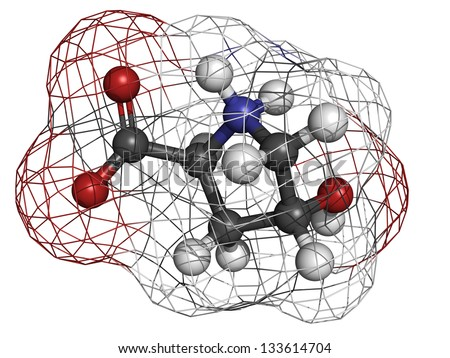 Hydroxyproline (Hyp) collagen building block, molecular model. Atoms are represented as spheres with conventional color coding: hydrogen (white), carbon (grey), oxygen (red), nitrogen (blue) - stock photo