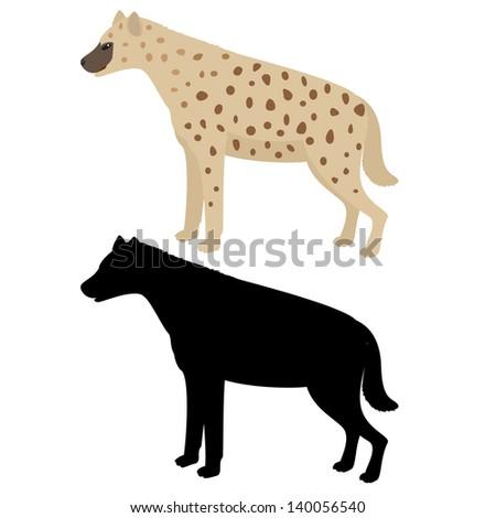 Hyena isolated on white. Raster copy of 139225382. - stock photo
