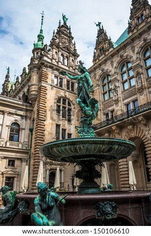 Hygieia Brunnen, Hamburg. Statue-fountain inside of the Rathaus (city hall), Germany - stock photo