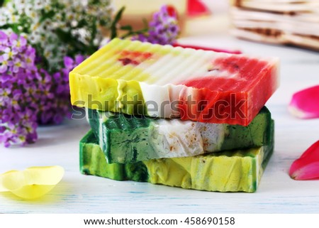 hygiene and care of body soap to the scent of flowers - stock photo