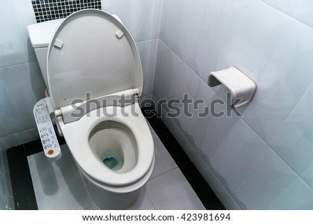 Hygienic and high technology of the toilet bowl, automatic flush - stock photo