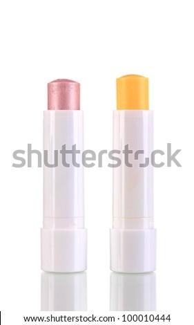 Hygienic lipsticks isolated on white - stock photo