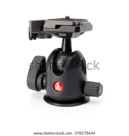 HYOGO, JAPAN - FEBRUARY 14, 2016: Manfrotto 496RC2 Compact Ball Head with RC2 Quick Release Plate. Manfrotto is a leading brand in manufacturing of camera and lighting support equipment. - stock photo