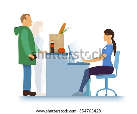 hypermarket, supermarket or small store, shopping bag with food and drink, seller-girl and buyers - stock photo