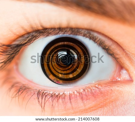 Hypnosis Spiral in eye - stock photo
