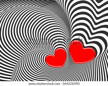 Hypnotic love 3d background with a hearts. - stock photo