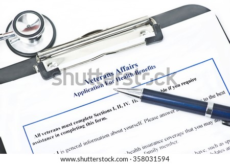 Hypothetical veteran application for health benefits.  Document is totally fictitious. - stock photo