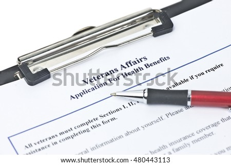 Hypothetical veteran application for health benefits.  Document is totally fictitious and created by photographer.