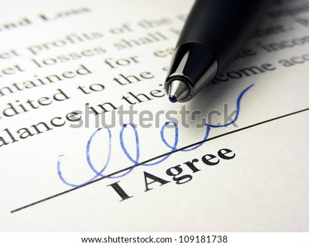 I agree field. The signature concept. - stock photo