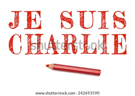 I am Charlie text in French outline draw red pencil isolated on white background. Support text for terrorist attack cartoonist Paris, France. - stock photo