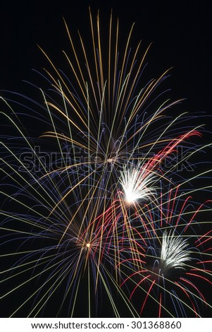 I am happy to look at the fireworks in a special night. - stock photo