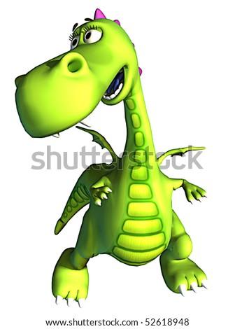 i am here green baby dragon - stock photo