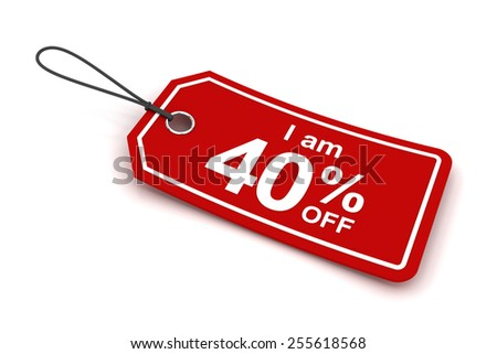 I am 40 percent off sale tag, 3d render, white background - stock photo