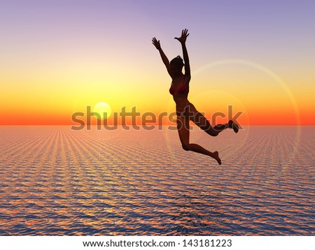 I believe I can fly. Young woman jumps into the ocean a symbol for courage, self confidence and success: I can make it!