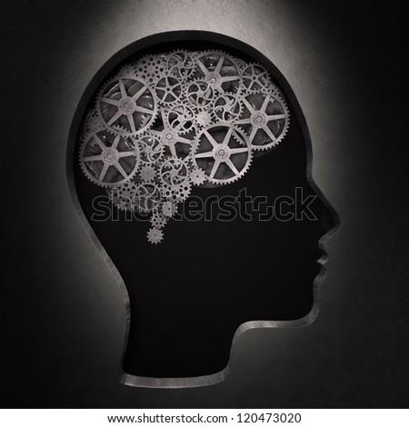 I bright bulb shape inside a head - creativity concept - stock photo