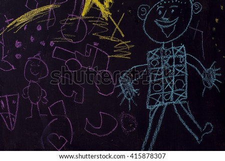 I chalk drawing of a boy. sketch of a child