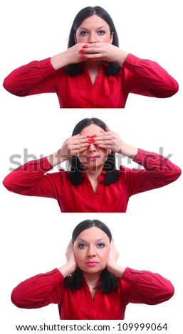 I do not see, can not hear silent isolated white background - stock photo