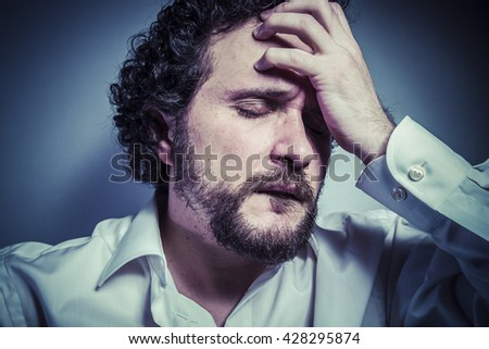 I do not want to hear anything, man with intense expression, white shirt - stock photo