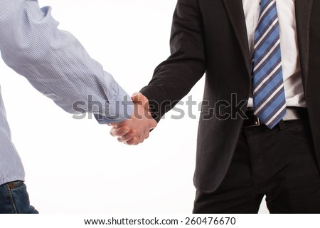 I fasten the agreement handshake. Two male hands closeup isolated on a white background, they finished the deal and shaking hands.Two friends shake hands at a meeting.Welcomes two more farmers at work
