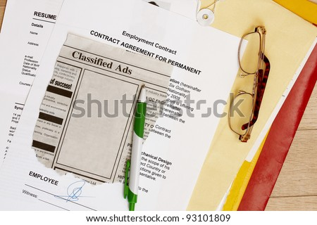 I found a job abstract with blank ads for your text - stock photo