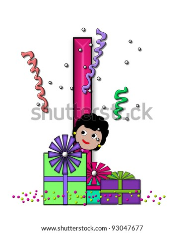 """I, in the alphabet set """"Birthday Letters"""", is surrounded by colorfully wrapped presents complete with bows.  Woman hides behind presents and peeks out pretending surprise. - stock photo"""