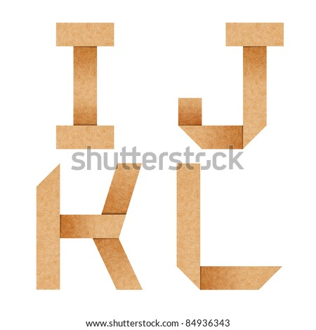 I,J,K,L Origami alphabet letters from recycled paper with clipping path