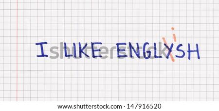 I like english on paper - stock photo