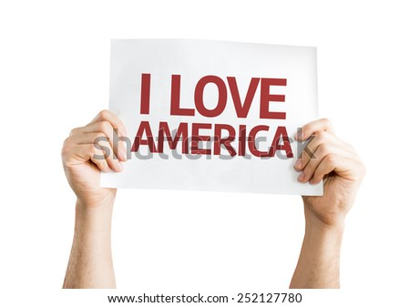 I Love America card isolated on white background - stock photo
