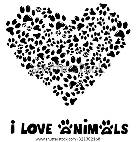 I love animals card with paws prints - stock photo