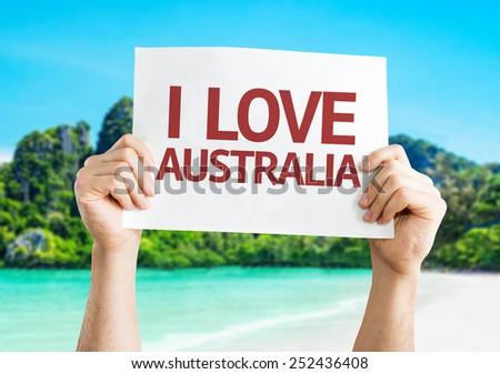 I Love Australia card with beach background - stock photo