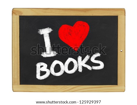 I love books on a blackboard