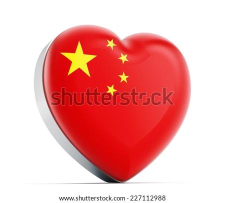 I love China heart shaped Chinese flag. - stock photo