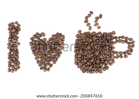 I love coffee symbols made of coffee beans isolated on white background - stock photo