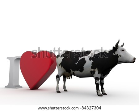 i love cows isolated on white background