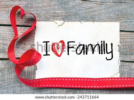 I love family Background. I love family Background with red ribbon - stock photo